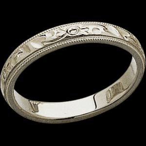 Platinum Design Wedding Band with Milgrain Edge