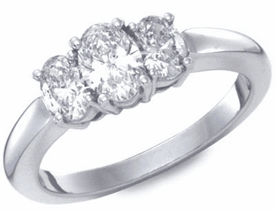 Platinum, Oval Cut 3 Stone Diamond Ring