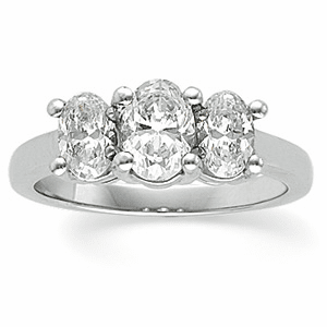 Platinum Three-Stone Oval Diamond Anniversary Band