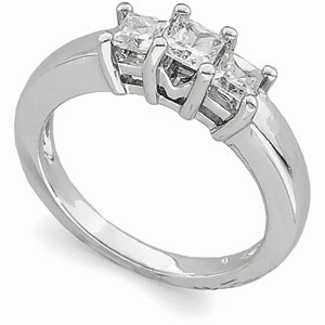 Platinum Three-Stone Princess-Cut Diamond Anniversary Ring