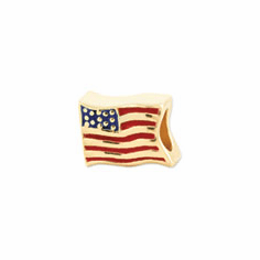 Reflection Beads Sterling Silver and Gold-plated USA Flag Bead
