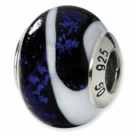 Reflection Beads Sterling Silver Black/Blue/White Italian Murano Bead