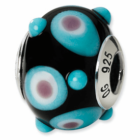 Reflection Beads Sterling Silver Black/Blue/White/Pink Italian Murano Bead