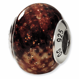 Reflection Beads Sterling Silver Black/Brown/Gold Italian Murano Bead