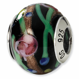 Reflection Beads Sterling Silver Black/Green/Gold/Red Italian Murano Bead