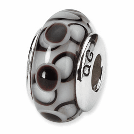Reflection Beads Sterling Silver Black Hand-blown Glass Bead