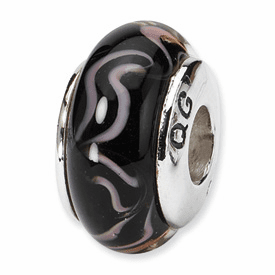 Reflection Beads Sterling Silver Black/Pink Hand-blown Glass Bead
