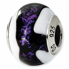Reflection Beads Sterling Silver Black/Purple/White Italian Murano Bead