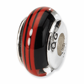 Reflection Beads Sterling Silver Black/Red Hand-blown Glass Bead