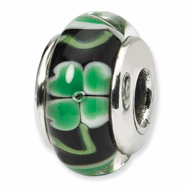 Reflection Beads Sterling Silver Black with Clover Hand-blown Glass Bead