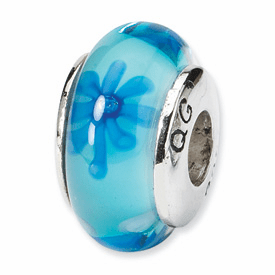Reflection Beads Sterling Silver Blue Floral Hand-blown Glass Bead