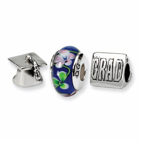Reflection Beads Sterling Silver Graduation Boxed Story Set (3 beads)