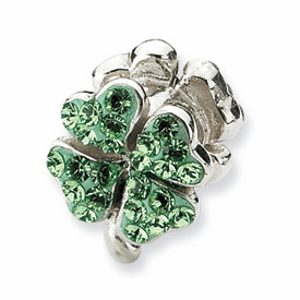 Reflection Beads Sterling Silver Light Green Crystal Clover Bead