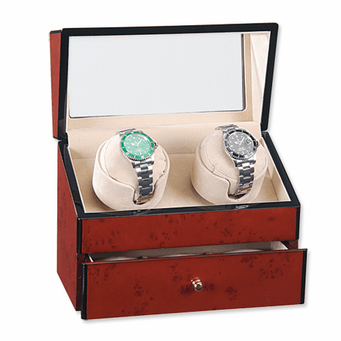 Rotations Double Watch Winder with front and top view window lid