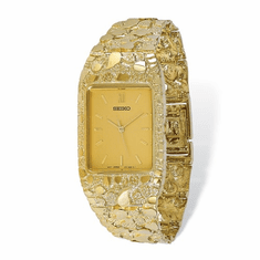 Seiko 10k Mens Squared Champagne Dial Solid Nugget Watch