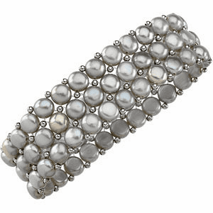 Silver Grey Pearl & Sterling Silver Stretch Bracelet