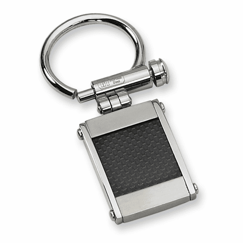 Stainless Steel Black Carbon Fiber Key Chain  by CHisel