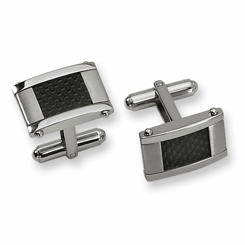 Stainless Steel Black Carbon Fiber Rectangle Cuff Links by Chisel