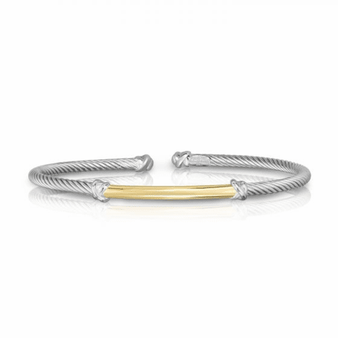 Sterling Silver & 18K Gold Bar 3mm Italian Cable Bangle