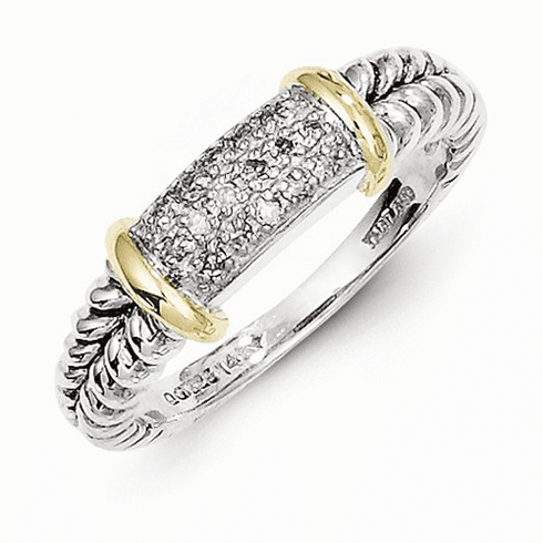 Sterling Silver and 14k Gold Diamond Ring