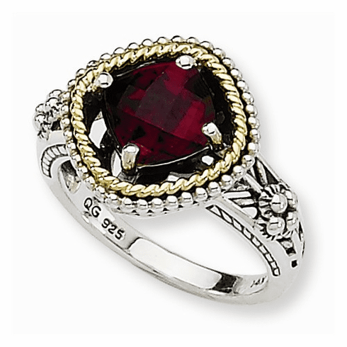 Sterling Silver and 14k Gold Garnet Ring, Shey Couture Collection