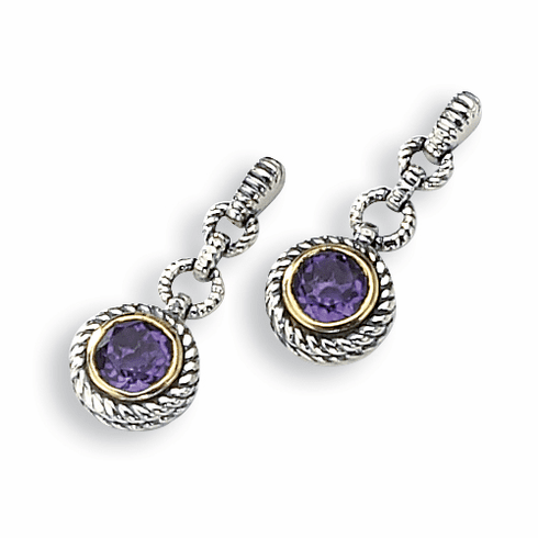Sterling Silver Antiqued Amethyst Earrings with 14k Gold by Town and Country Collection