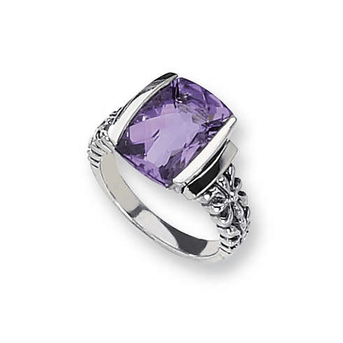 Sterling Silver Antiqued Amethyst Ring with 14k Gold by Town and Country Collection