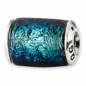 Sterling Silver Blue Dichroic Glass Barrel Bead