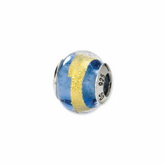 Sterling Silver Blue/Gold Italian Murano Bead