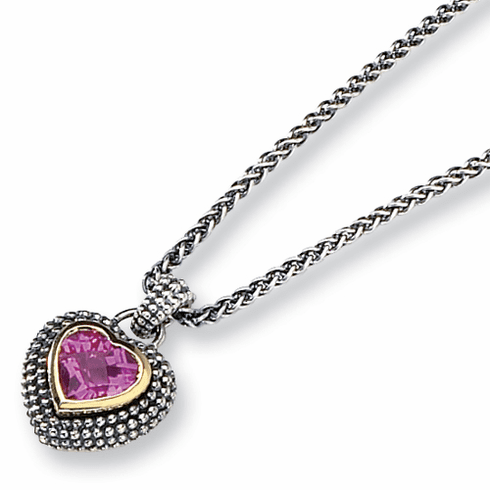 "Sterling Silver Created Pink Sapphire 18"" Necklace  with 14k Gold by Town and Country Collection"
