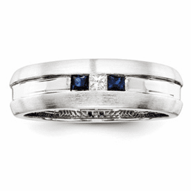 Sterling Silver Diamond & Sapphire Men's Ring