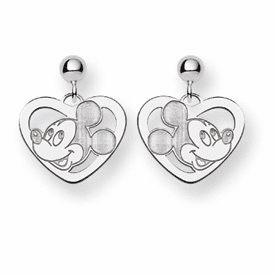 Sterling Silver Disney Mickey Heart Dangle Post Earrings