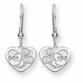 Sterling Silver Disney Mickey Heart Dangle Wire Earrings