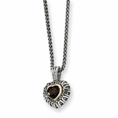 """Sterling Silver Garnet Antiqued Heart 18"""" Necklace by Town and Country Collection"""