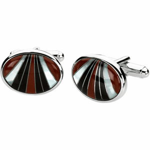 STERLING SILVER GENUINE CARNELIAN, MOTHER OF PEARL & ONYX CUFF LINKS