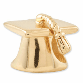 Sterling Silver Gold-plated Reflections Graduation Cap Bead
