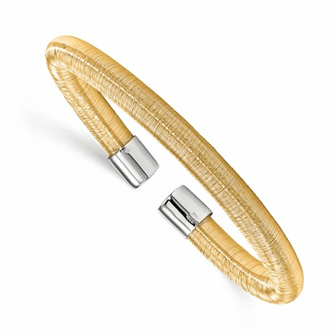 Sterling Silver Gold-tone Cuff Bangle, Made in Italy