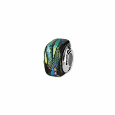 Sterling Silver Green Square Dichroic Glass Bead