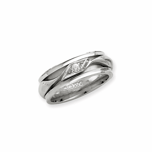 Sterling Silver Inner Channel Diamond Spinning Band