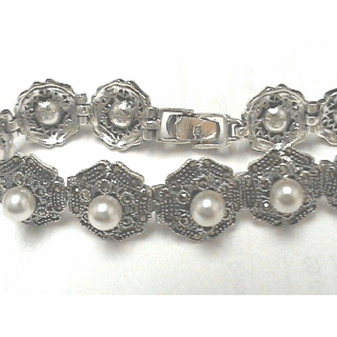 Sterling Silver Marcasite and Pearl Bracelet