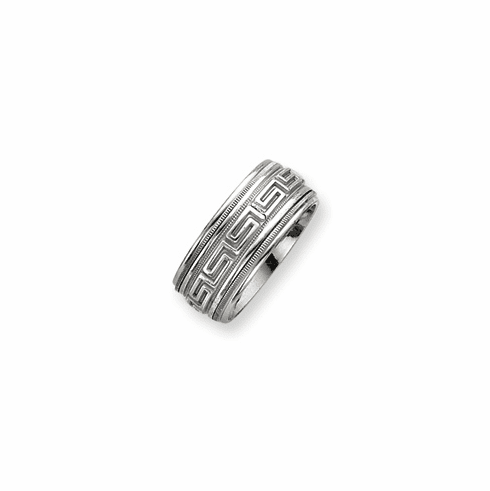 Sterling Silver  Men's Inner Channel Greek Key Design Spinning Band