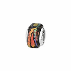 Sterling Silver Orange Square Dichroic Glass Bead