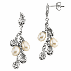 Sterling Silver Pearl and CZ Teardrops Earrings