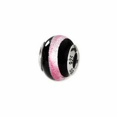 Sterling Silver Pink/Black Italian Murano Bead