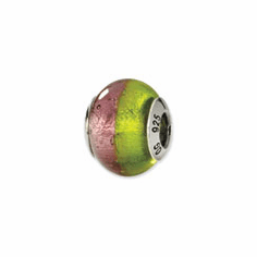 Sterling Silver Pink/Green Italian Murano Bead