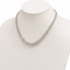 Sterling Silver Graduated Byzantine Link Necklace