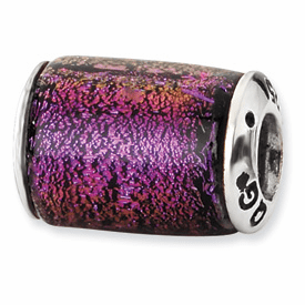 Sterling Silver Purple Dichroic Glass Barrel Bead