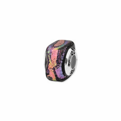 Sterling Silver Purple Square Dichroic Glass Bead