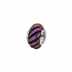 Sterling Silver Purple Swirl Dichroic Glass Bead