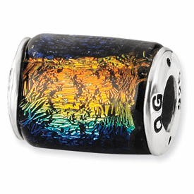 Sterling Silver Rainbow Dichroic Glass Barrel Bead